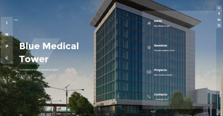 Blue Medical Tower in Tijuana Mexico Hospital Facility